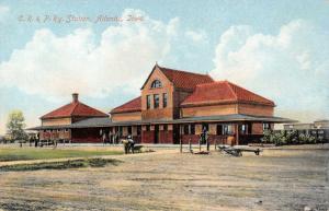 Atlantic Iowa~Chicago Rock Island & Pacific Railway Station~Train Depot~1908 PC
