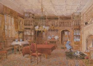 Gawthorpe Hall Lancashire Padiham Fireplace Dining Room Postcard