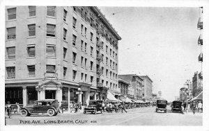 Pine Avenue LONG BEACH, CA Street Scene c1920s Vintage Postcard