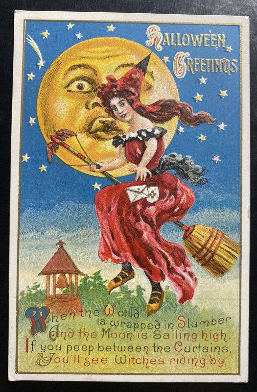 Mint USA Picture Postcard Halloween Greetings Moon Sailing High