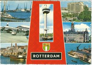 Netherlands, Rotterdam multi view, 1967 used Postcard