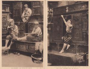 Ladies In Cupboards 2x Autour Des Lite Clos Amaury Comic Postcard s