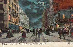 KANSAS CITY , Missouri , 1911 ; Main Street at night