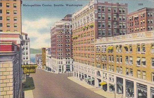 Washington Seattle Metropolitan Center Street Scene Metropolitan Theatre 1947