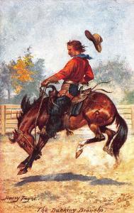 Cowboy and Horse Bucking Broncho Artist Harry Payne Raphael Tuck Postcard