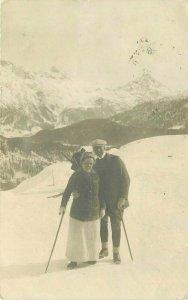 Alpine Sports 1920s Winter Ski Couple RPPC Photo Postcard 20-1228