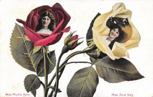 Famous Faces Flower Fantasy~Miss Phyllis & Zena Dare in Rosebuds~1909 Postcard
