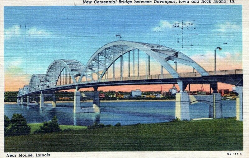 New Centennial Bridge IO Rock Island Illinois Posted Vintage Linen Post Card