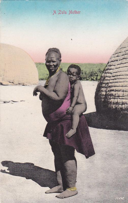 A Topless Zulu Mother With Her Son, SOUTH AFRICA, 1900-1910s