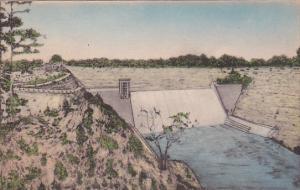 Hand-colored, Mount Morris Dam, Genesee River High Banks, Castile, New York, ...