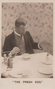 The French Broken Boiled Egg Cookery Breakfast Antique Comic Real Photo Postcard