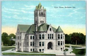 Rochester, Indiana Postcard FULTON COUNTY COURT HOUSE Building View - KROPP