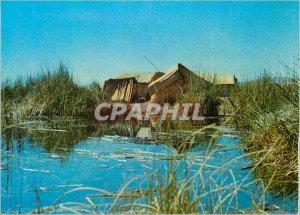 Modern Postcard Puno Peru Totora Vivienda en las Islas Flotantes Los Uros