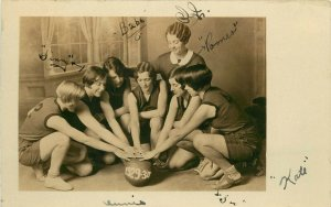 RPPC Postcard 1929-1930 Young Women Athletes Basketball Team, Unknown US