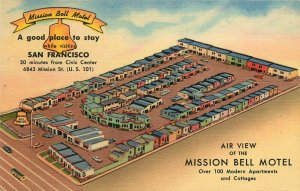 Linen Roadside Postcard; Air View of Mission Bell Motel, San Francisco CA