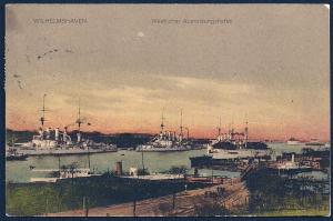 Wilhelmshaven Western Fitting Harbor w/Warships used c1914