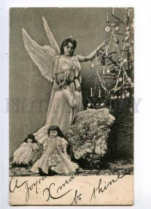 234983 X-MAS Christmas DOLL Guardian ANGEL Girl Vintage PC