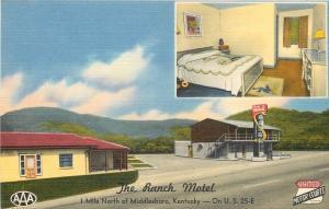 Middleboro Kentucky~Nice Decor in The Ranch Motel~Route 25-E Linen Roadside 1940
