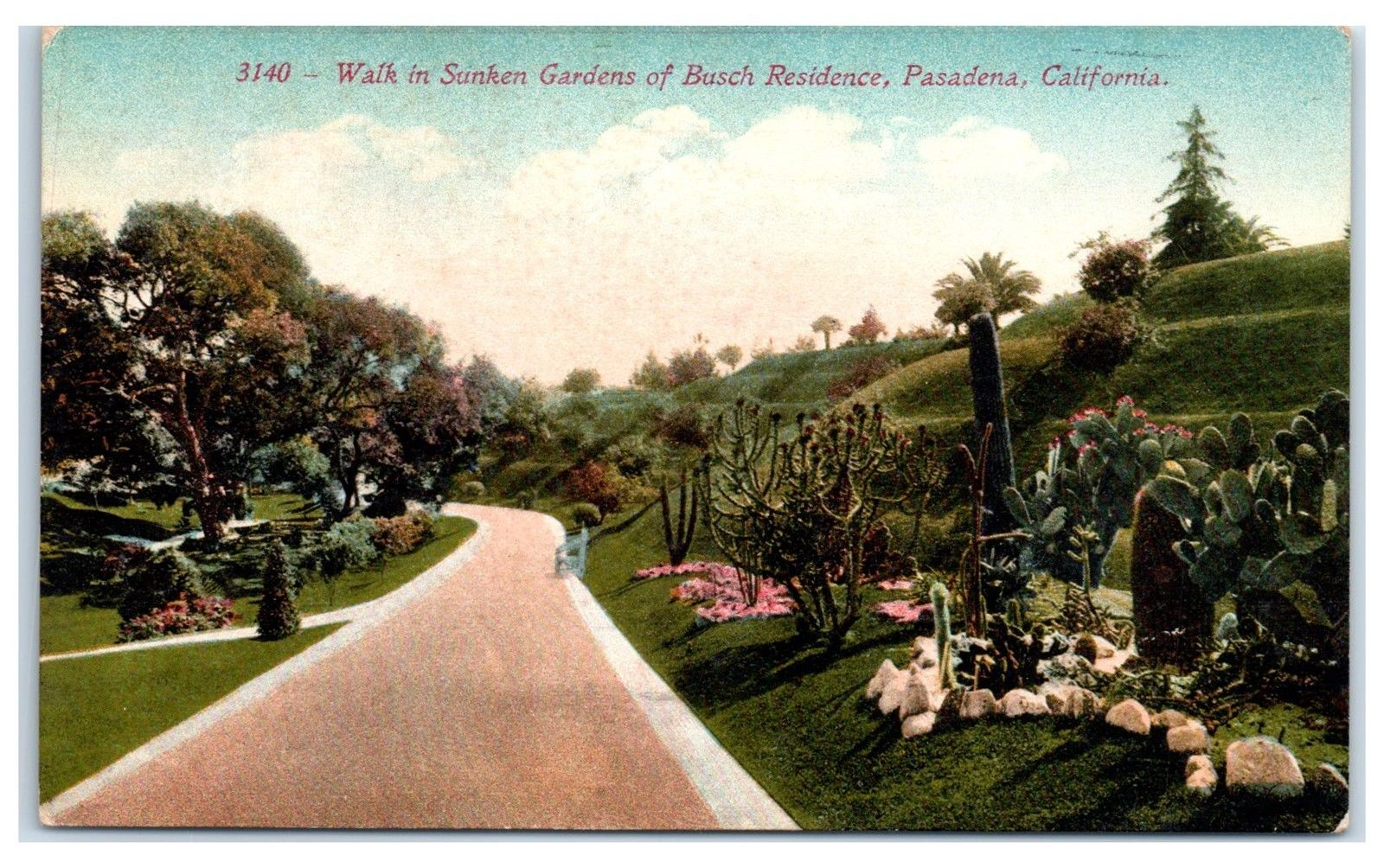 Early 1900s Sunken Gardens of Busch Residence, Pasadena, CA Postcard ...