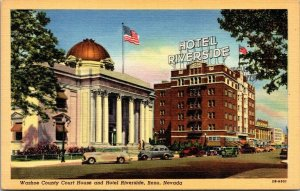 Postcard NV Nevada Reno Hotel Riverside & Washoe Courthouse Unposted Linen