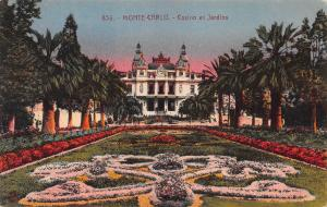 Casino and Gardens, Monte Carlo, Monaco,  Early Postcard, Unused