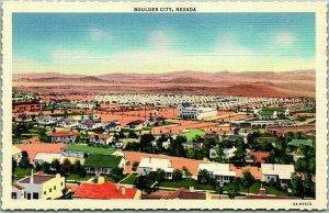 1940s BOULDER CITY Nevada Postcard Bird's-Eye Panoramic City View Curteich Linen