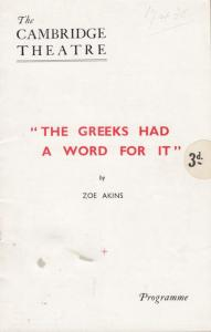 The Greeks Had A Word For It Margaret Rawlings Cambridge Theatre Comedy Progr...