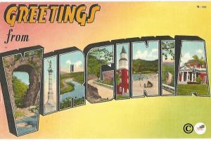 Greetings From Virginia Large Letter Big Letter Vintage Postcard Linen