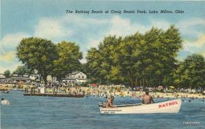 1940s Bathing Beach Craig Park Lake Milton Ohio Teich linen postcard 8301 Boat