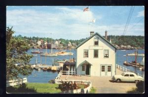 Boothbay Harbor, Maine/ME Postcard, Head On View Of Yacht Club, 1960's?