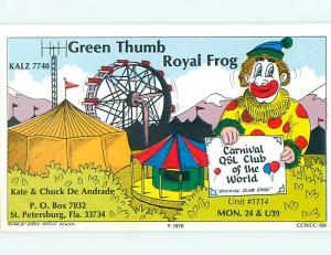 clown CIRCUS - QSL HAM RADIO CARD St. Saint Petersburg Florida FL t1342