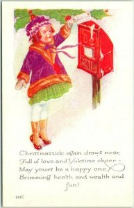 Vintage CHRISTMAS Greetings Postcard Girl / Letter / Mail Box - Dated 1922