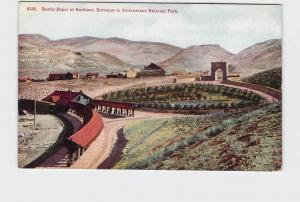 ANTIQUE POSTCARD NATIONAL STATE PARK YELLOWSTONE ENTRANCE RUSTIC DEPOT GARDINER