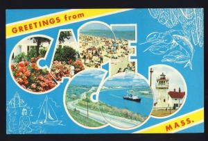 Greetings From Cape Cod, Massachusetts/Mass/MA Postcard, Beach/Lighthouse