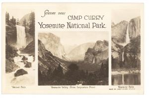 Yosemite Reflections Camp Curry Three Views  RPPC Real Photo Postcard