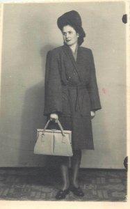 Romania photo dated 1945 fashion purse hat