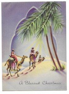 VINTAGE 1940s WWII ERA Christmas Greeting Card Art Deco Embossed THREE WISE MEN