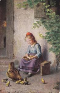 AS: Girl holding bowl, watching hen and chicks, 00-10s