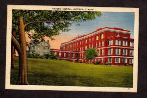 ME Old Vintage view Sisters Hospital  Waterville Maine Linen Postcard PC
