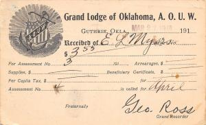 Guthrie Oklahoma~Grand Lodge AOUW~Ancient Order of United Workmen~Geo Ross~1918