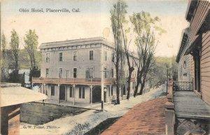 Placerville, CA OHIO HOTEL El Dorado County 1908 Hand-Colored Vintage Postcard