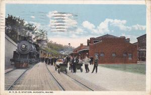 Train At Maine Central Railroad Station Augusta Maine 1940 Curteich