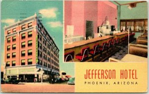 1940s PHOENIX, Arizona Postcard JEFFERSON HOTEL w/ Coffee Shop View Linen 1949