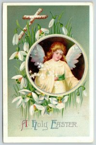 Clapsaddle Easter~Angel Girl in Yellow Chiffon~Snowdrop Lilies~Lime Back~Emboss