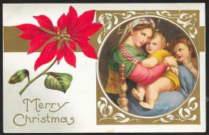 Merry Christmas Lady With Baby & Child Poinsettia Used c1910s