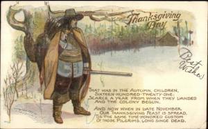 Thanksgiving - Hunting Man Dead Turkey Gun & Poem LOUNSBURY c1910 Postcard
