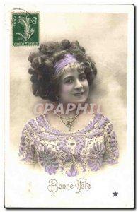 Postcard Old Woman Jewel Necklace