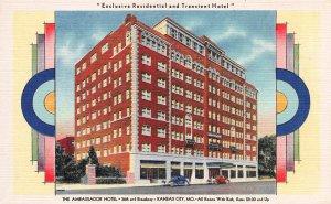 The Ambassador Hotel, Kansas City, Missouri, Early Linen Postcard, Unused