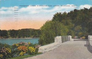 Wisconsin Milwaukee Footbridge Across Washington Park Lagoon 1944