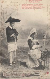 Idylle Bretonne (Au Bourg-de-Batz) , France , 1906 :  Spinning Wheel